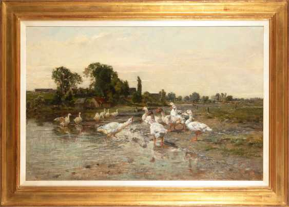 BAISCH, Hermann: flock of Geese on the Creek. - photo 2