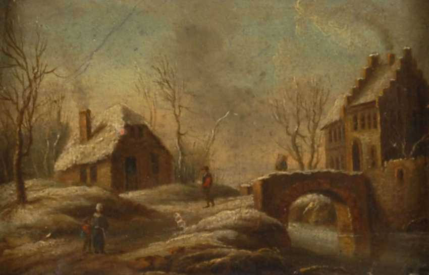 Miniature painting with winter landscape. - photo 1