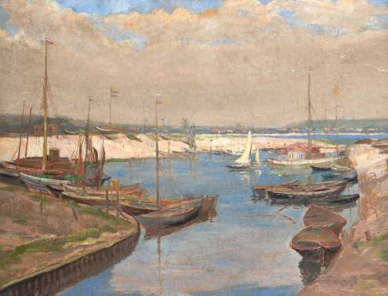 OLBRICH, Ernst: coastal city with a Harbor. - photo 1