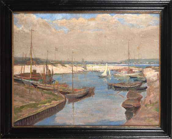OLBRICH, Ernst: coastal city with a Harbor. - photo 2