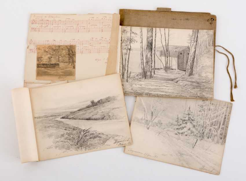 Rare folder with 16 pencil drawings (1916-1918) of the ethnographer and artist Georgy Prokofiev (1897-1942) - photo 1