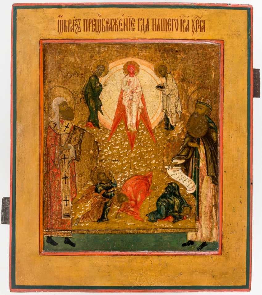 Rare icon of the Transfiguration of Christ with two saints - photo 1