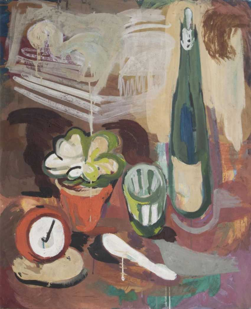 Still life with bottle and alarm clock - photo 1