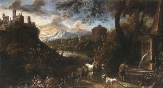 Classical landscape with shepherds - photo 1