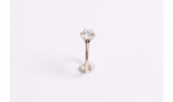 Ring in gold alloy (585 milliseconds) set with a diamond - photo 2