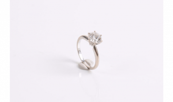 Ring in gold alloy (585 milliseconds) set with a diamond - photo 1
