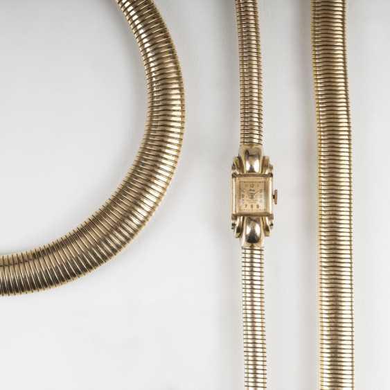 Paris Gold-jewelry: women's wrist watch, necklace and bracelet - photo 5