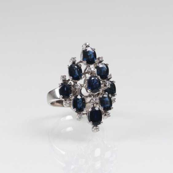 Large Vintage Sapphire And Diamond Ring - photo 1
