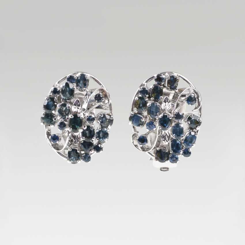 Pair Of Sapphire And Diamond Earrings - photo 1