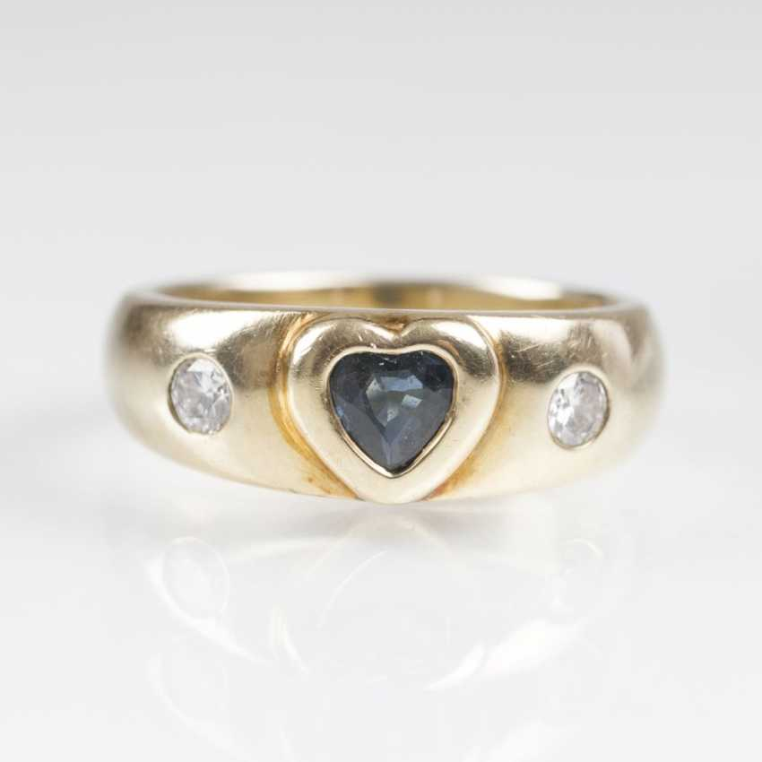 Gold Ring with a sapphire heart and diamonds - photo 1