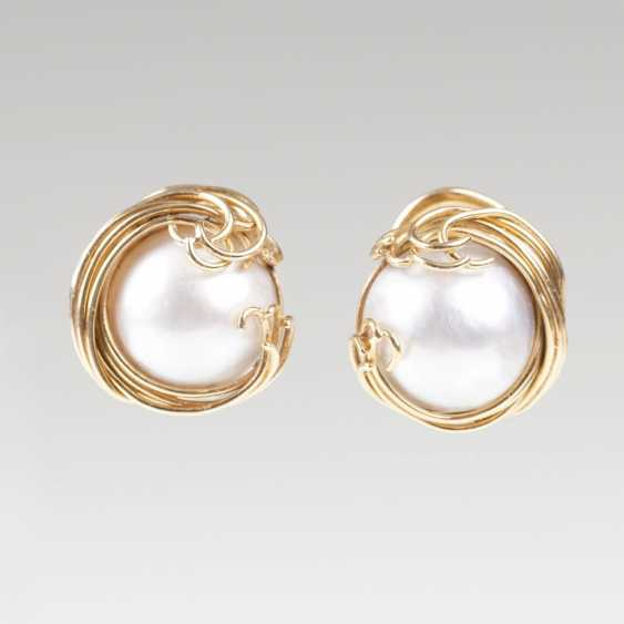 Pair Of Mabé-Pearl-Clip-On Earrings - photo 1