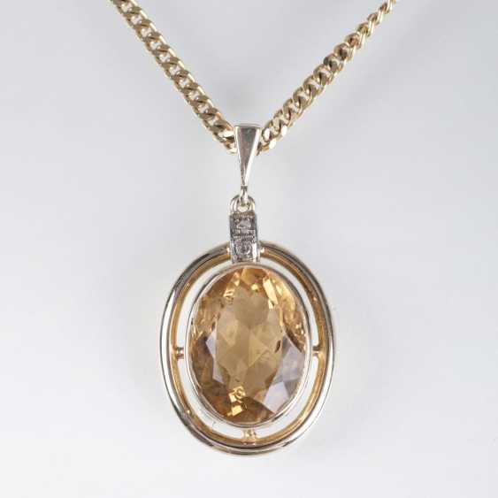 Citrine pendant with chain - photo 1