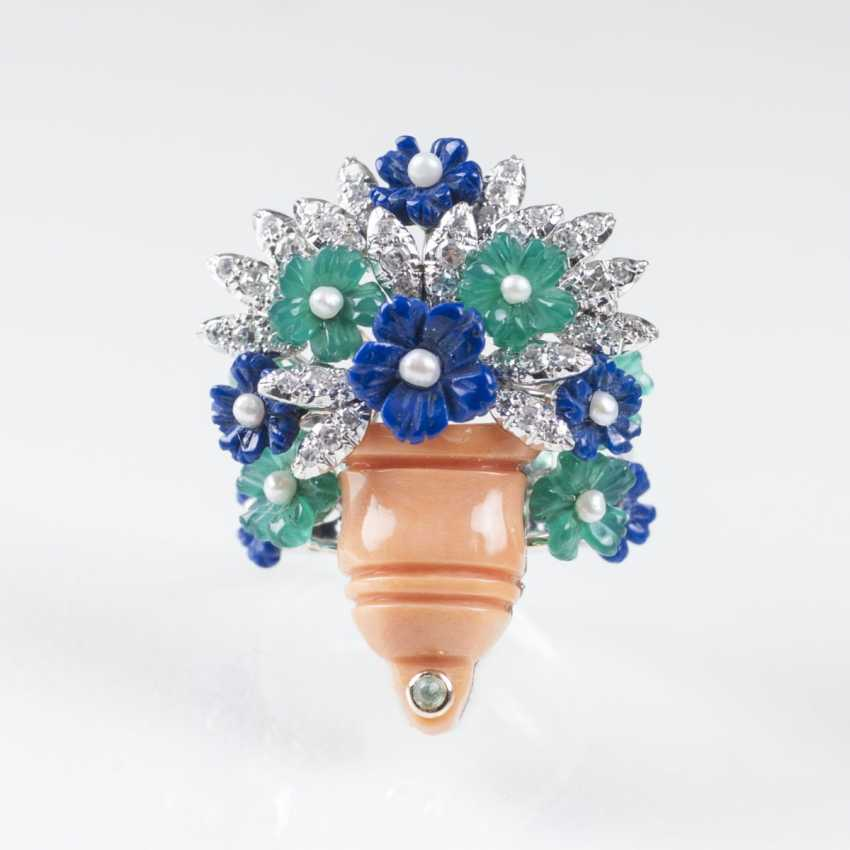 Cocktail ring with gem stone flowers bouquet in coral Vase - photo 1