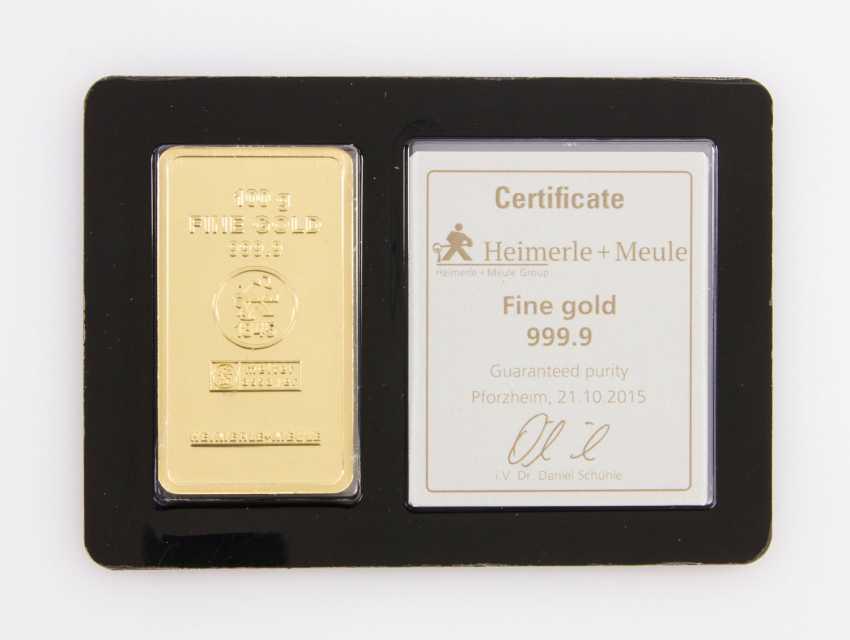 1 - gold bullion 100g gold bars, embossed, manufacturer, Heimerle + Meule