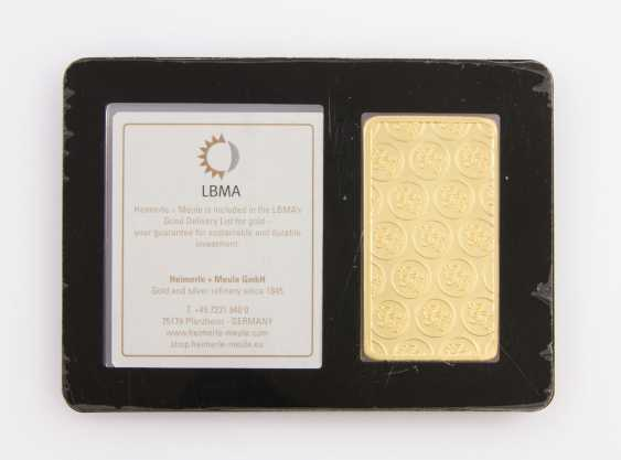 1 - gold bullion 100g gold bars, embossed, manufacturer, Heimerle + Meule - photo 2