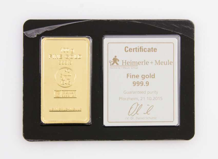 1 - gold bullion 100g gold bars, embossed, manufacturer, Heimerle + Meule - photo 1
