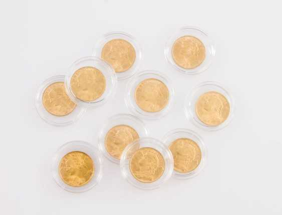Larger gold-Switzerland group - consisting of 10 x 20 francs