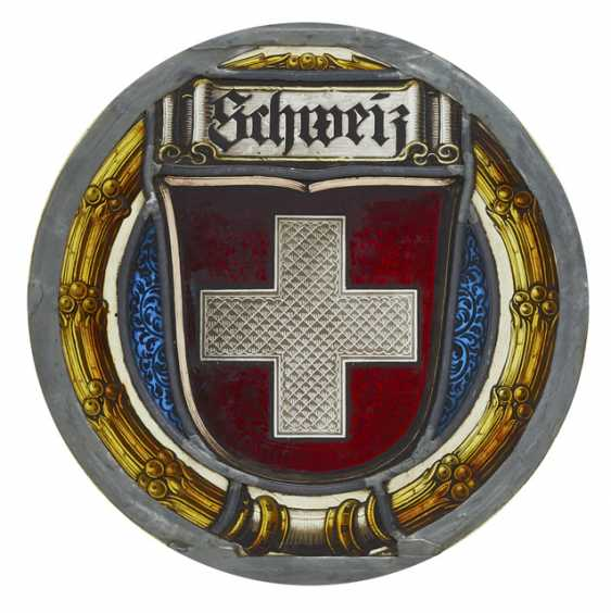Lead glass plate with Swiss coat of arms - photo 1