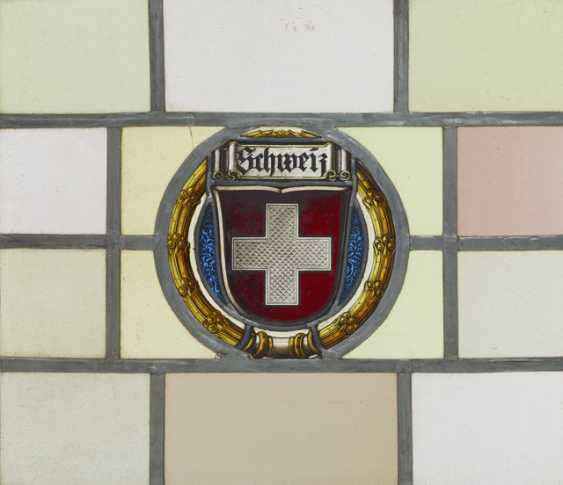 Lead glass plate with Swiss coat of arms - photo 2