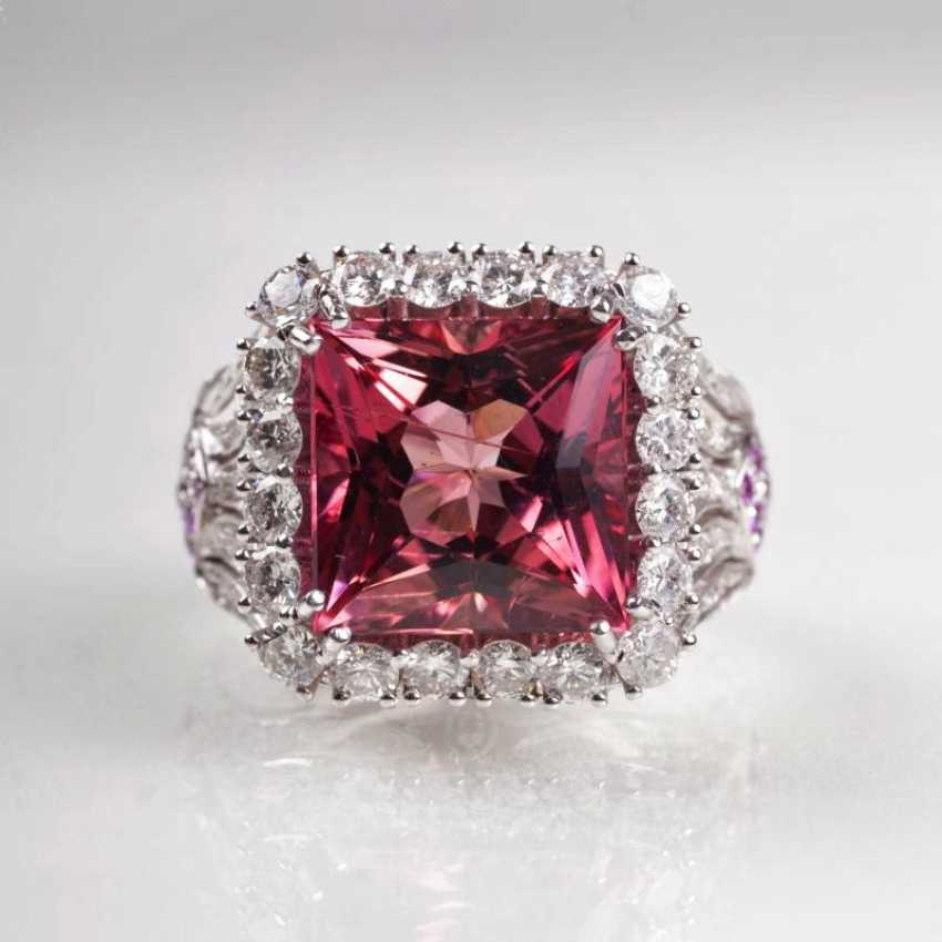 Ultra-fine Pink-tourmaline-diamond Ring with Pink sapphires - photo 1