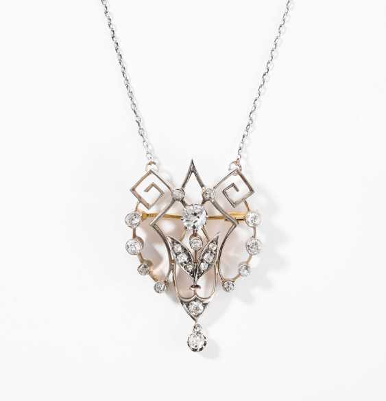 Diamond pendant/brooch with chain - photo 1