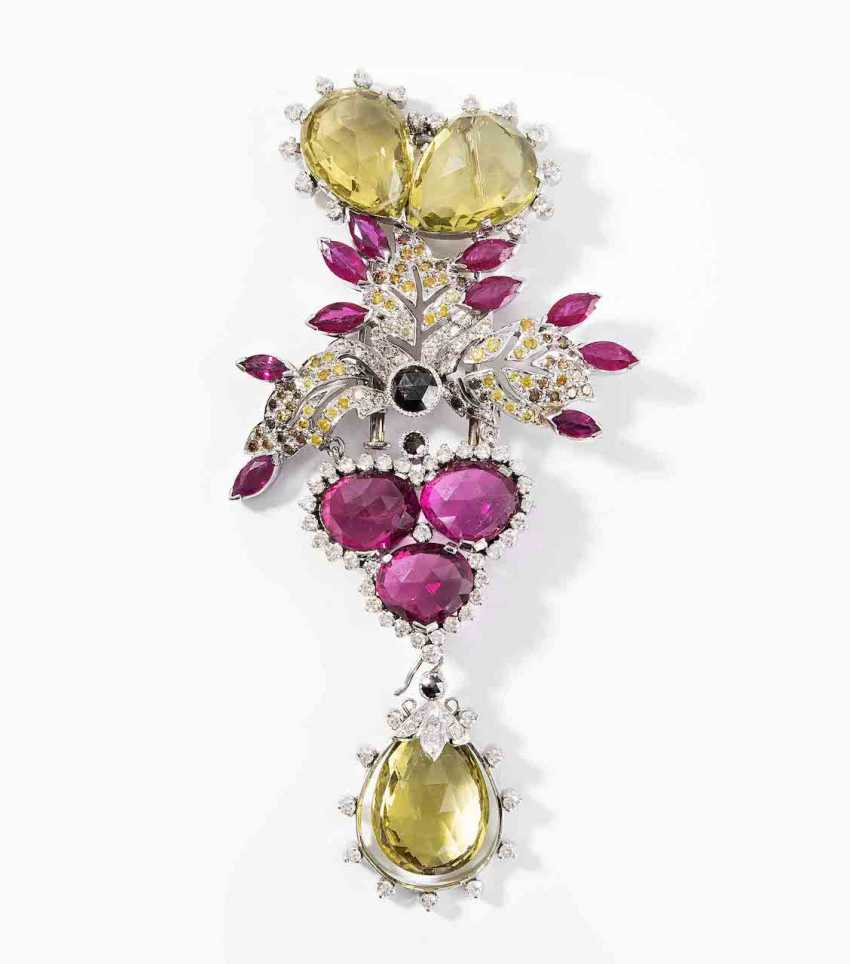 Color Stone And Diamond Brooch - photo 1