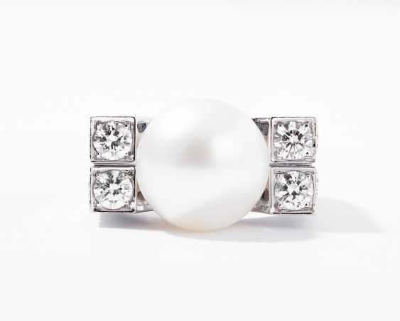 Culture Pearl And Diamond Ring - photo 1