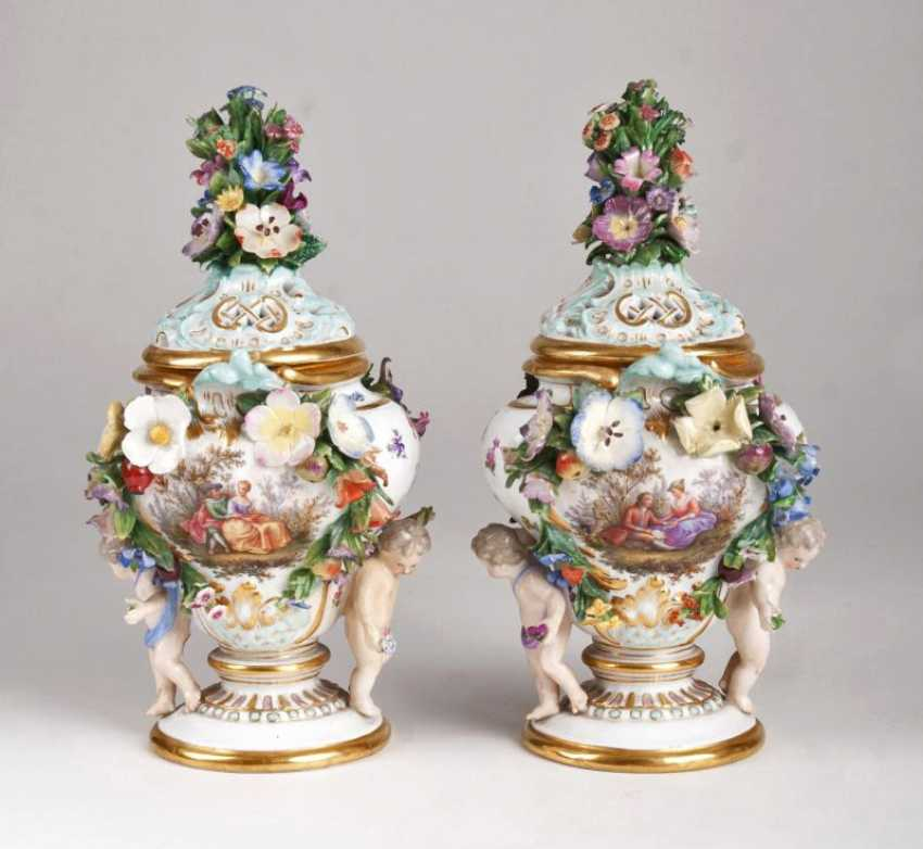 Pair of small pot pourri vases with cherubs pair