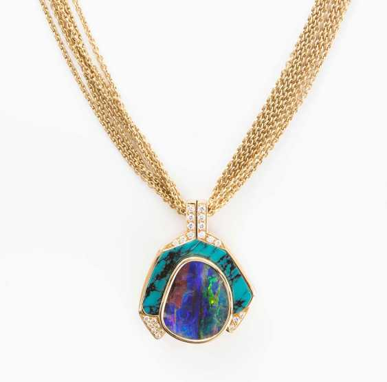 Boudleropal-turquoise-and-diamond pendant with chain - photo 1
