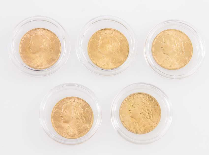 Beautiful gold compilation Switzerland - consisting of 5 x 20 francs