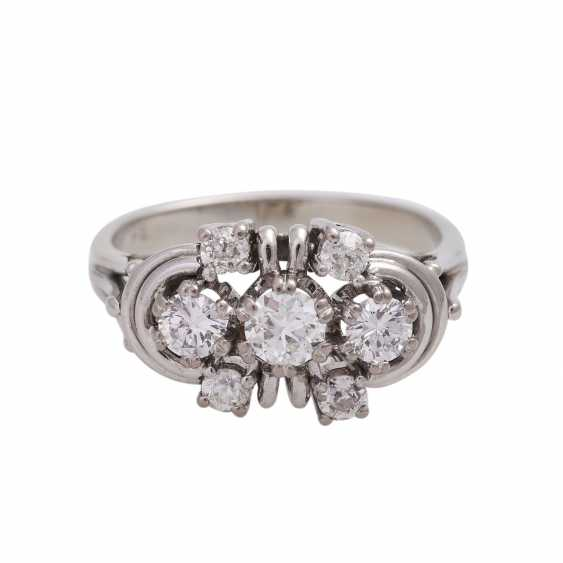 Ring with 2 diamonds and 5 old European cut diamonds. - photo 1