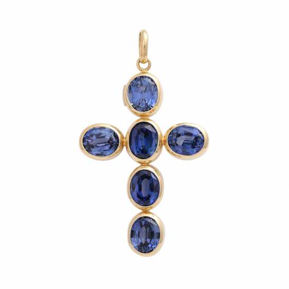 Cross pendant with 6 synthetic sapphires, - photo 1