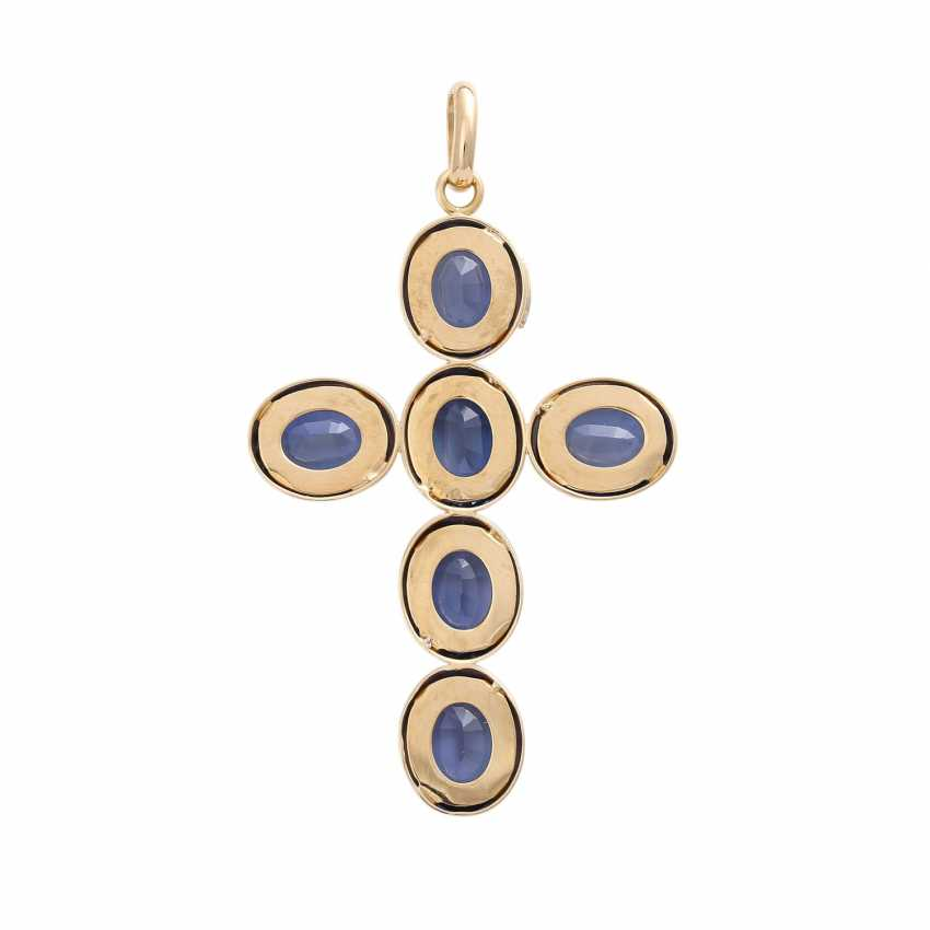 Cross pendant with 6 synthetic sapphires, - photo 4