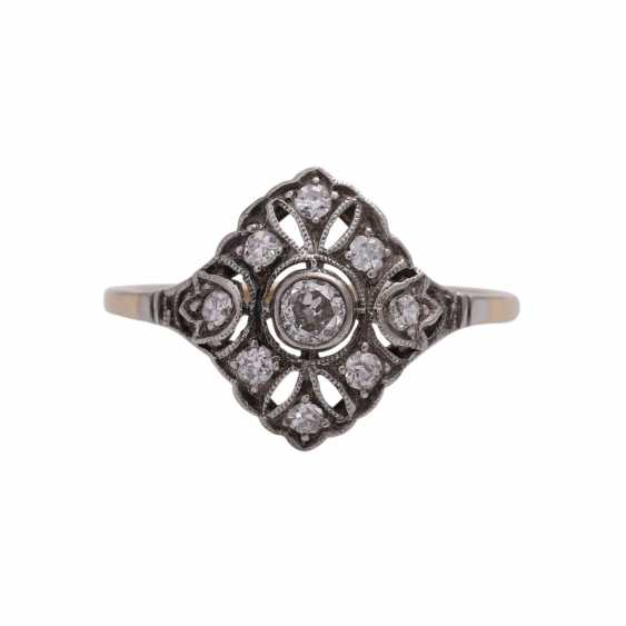 Art Deco Ring with 9 old European cut diamonds, together approx 0.2 ct, - photo 1