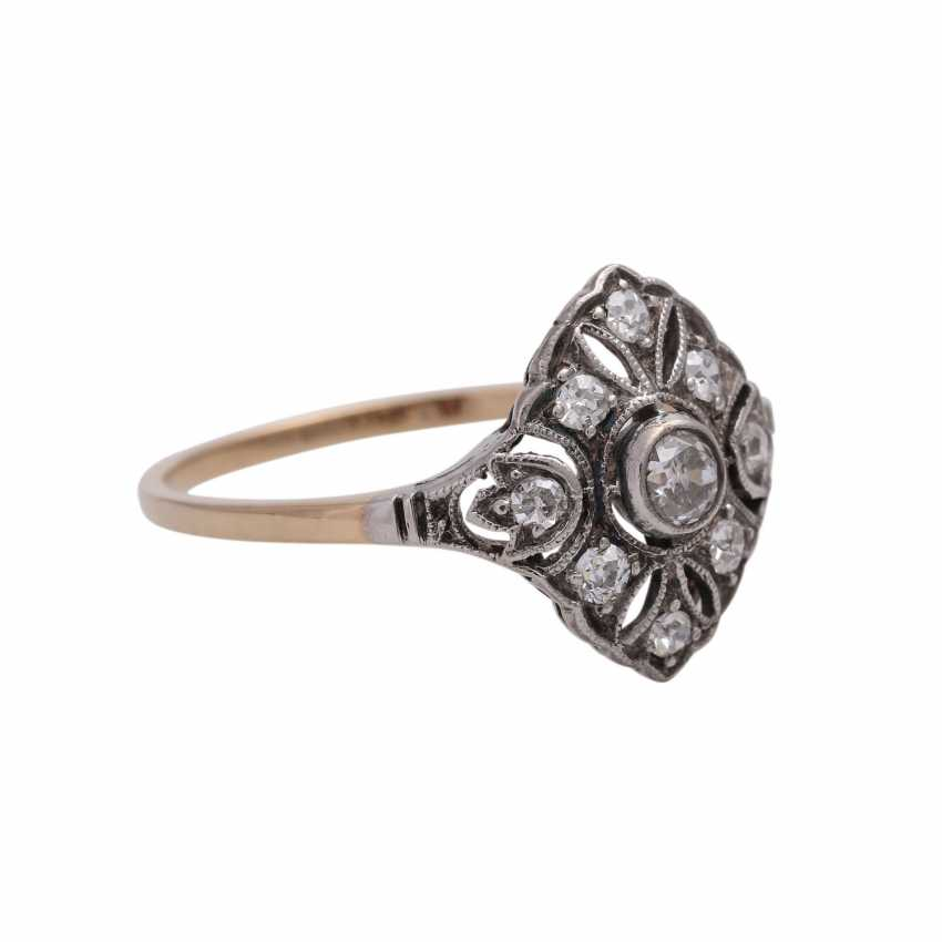 Art Deco Ring with 9 old European cut diamonds, together approx 0.2 ct, - photo 2