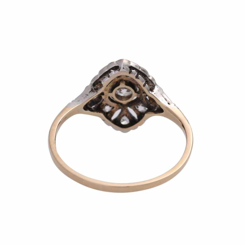 Art Deco Ring with 9 old European cut diamonds, together approx 0.2 ct, - photo 4