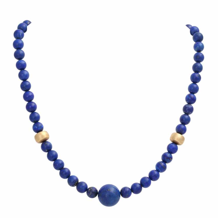 Necklace, lapis lazuli spheres approx. 8 mm, - photo 1