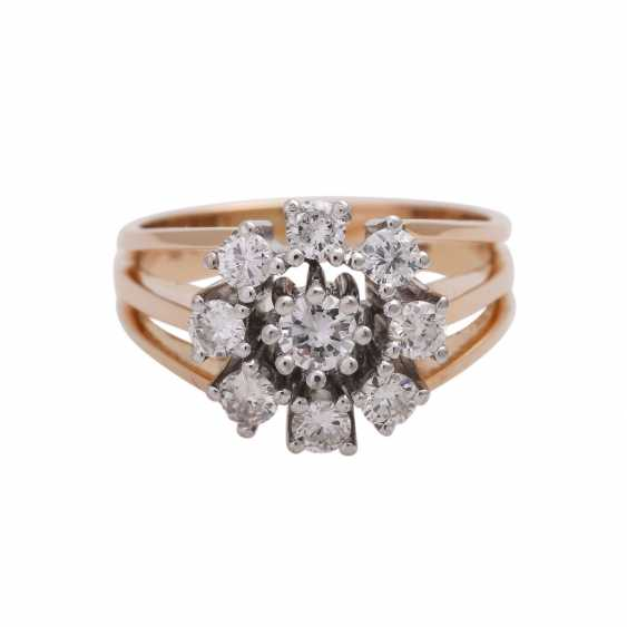 Ring with 9 brilliant-cut diamonds, together approx. 0,83 ct (punz.), - photo 1
