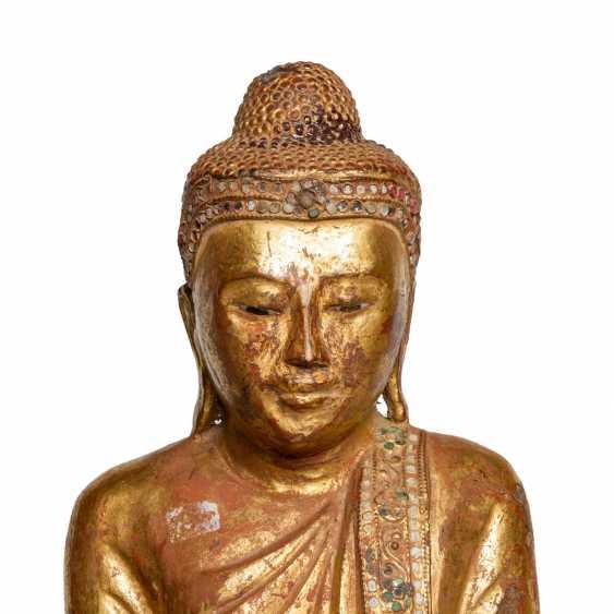Wood figure of the standing Buddha. THAILAND, 20. Century. - photo 5