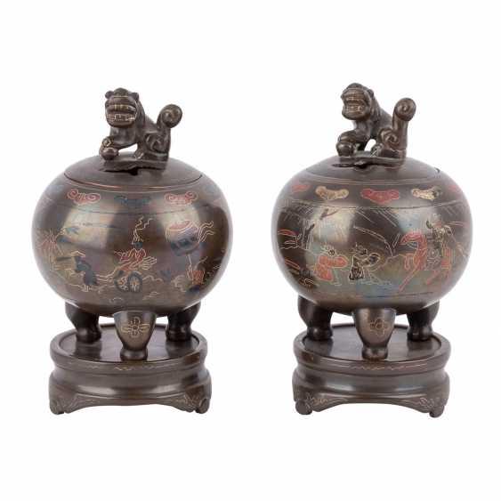 Pair of small incense burner made of Bronze. CHINA, 20. Century, - photo 1
