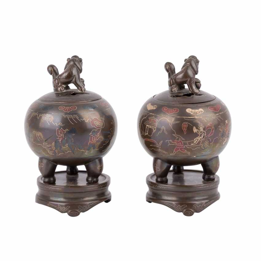 Pair of small incense burner made of Bronze. CHINA, 20. Century, - photo 3