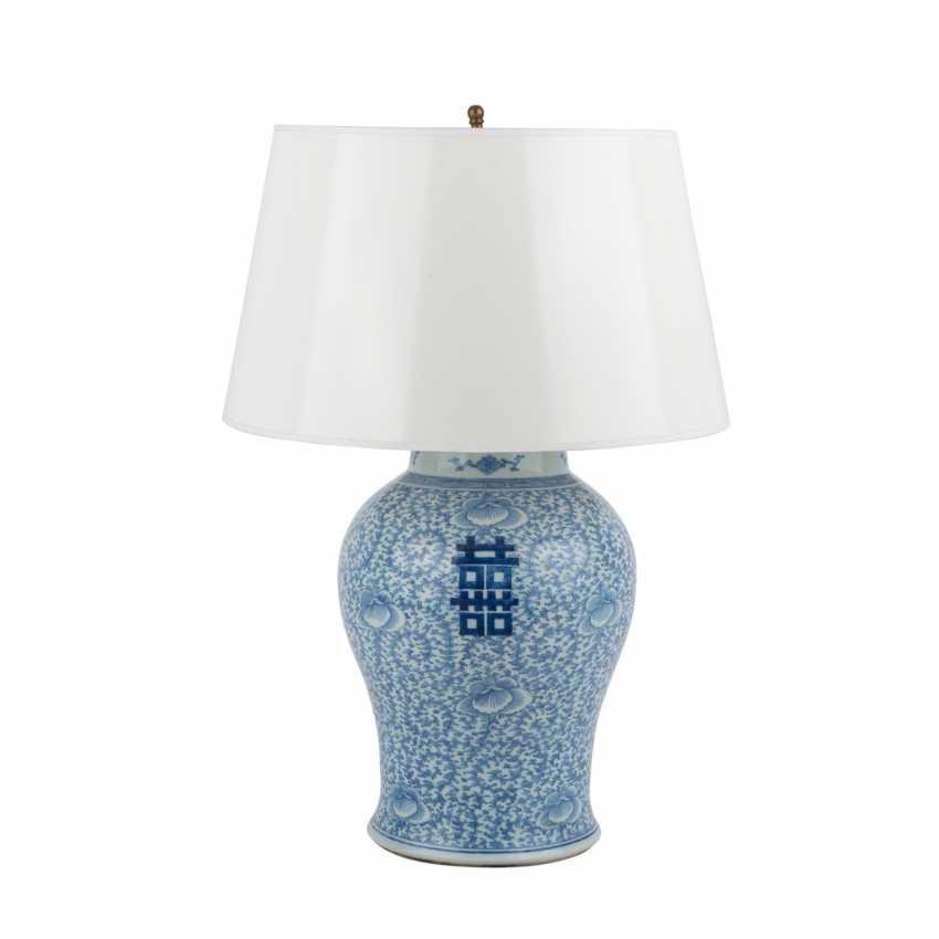 Unterglasurblaue Vase als Lampe montiert. CHINA. - photo 1