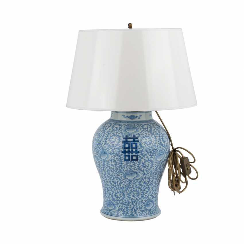 Unterglasurblaue Vase als Lampe montiert. CHINA. - photo 2