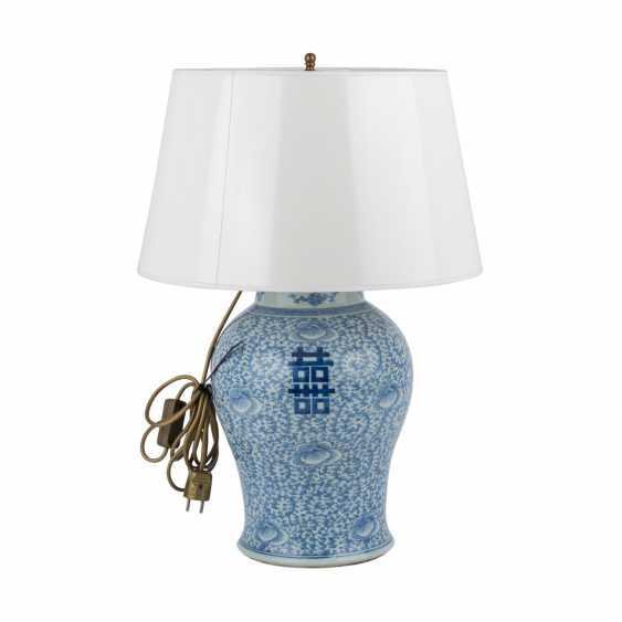 Unterglasurblaue Vase als Lampe montiert. CHINA. - photo 4