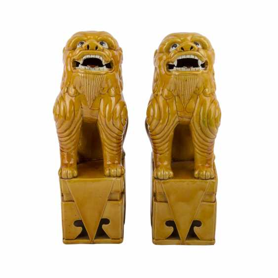 Pair of ochre glazed guardian lions. CHINA, time of the Republic. - photo 2