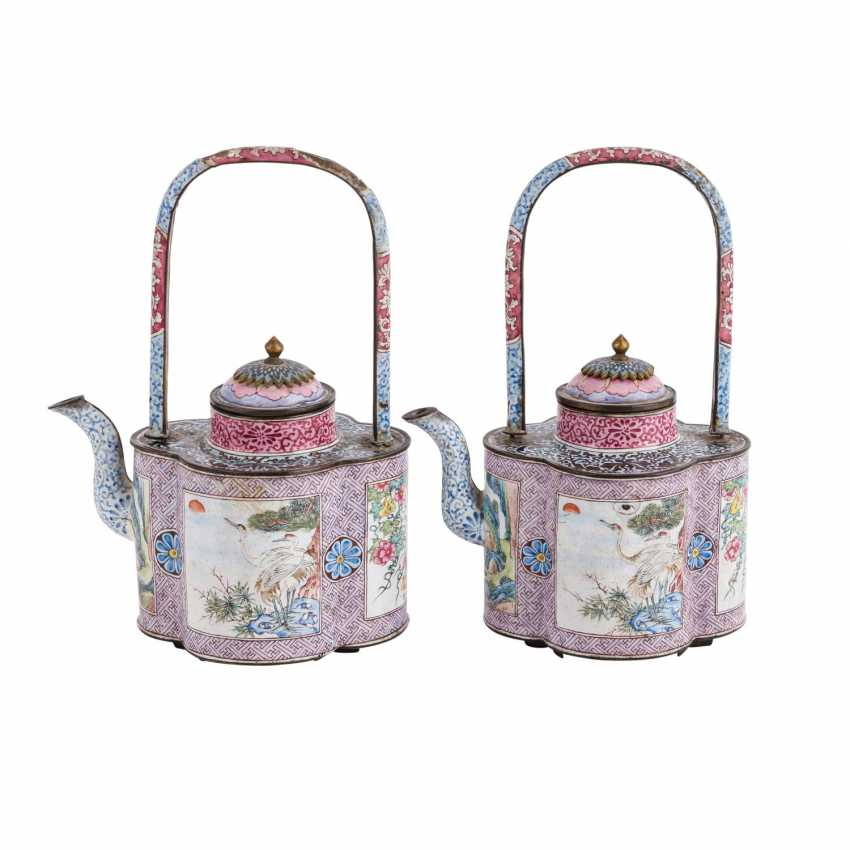 Pair of very rare jug is made of copper with enamel painting. CHINA, 19. Century. - photo 1