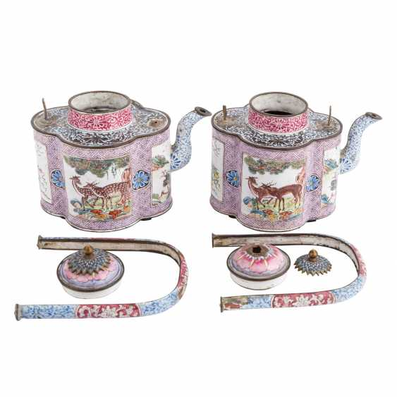 Pair of very rare jug is made of copper with enamel painting. CHINA, 19. Century. - photo 2