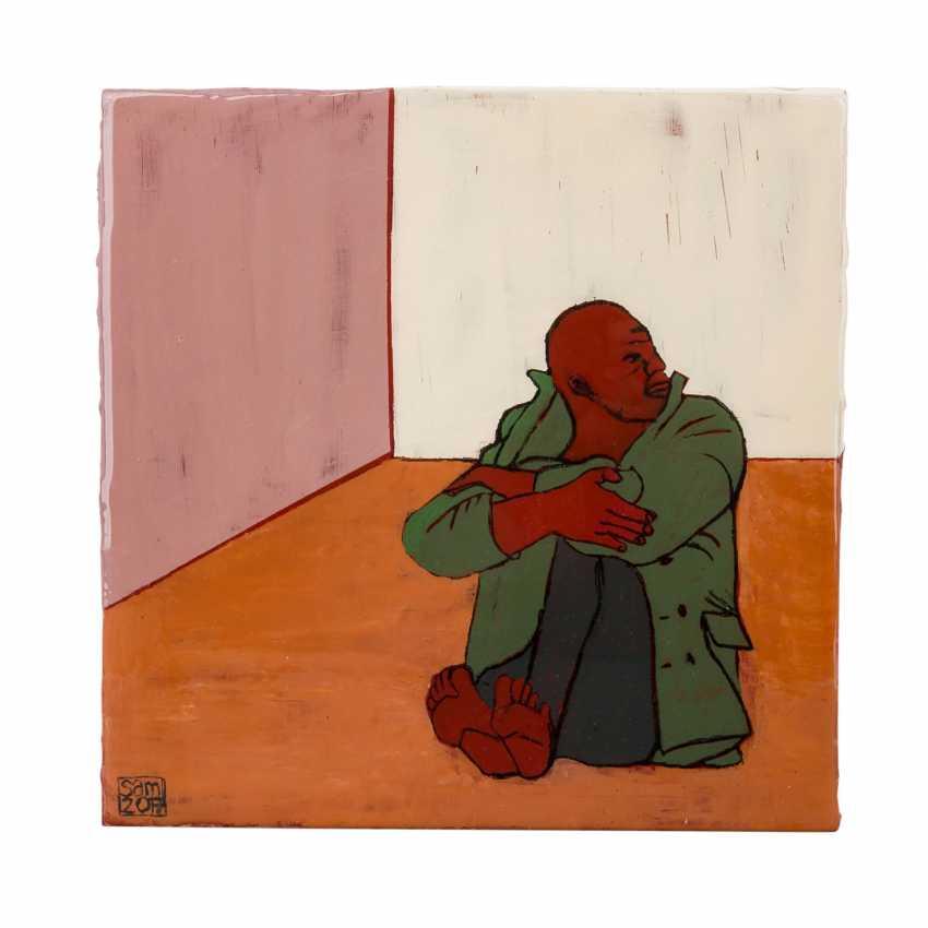 """SCHIRMER, SABINE MARIA (südd. Künstlerin 20./21. Jahrhundert), """"Sitzender Mann im Raum"""", - Foto 1"""