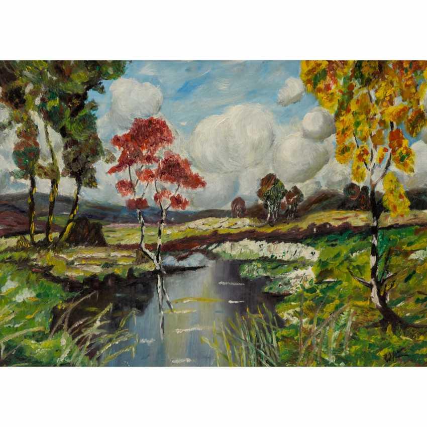 """KIMMICH, Wilhelm, ATTRIBUIERT (1896-1986), """"Frühlingslandschaft mit blühenden Bäumen an einem Weiher"""", - Foto 1"""