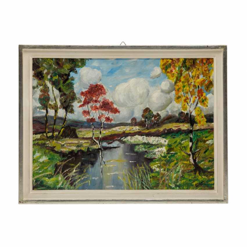 """KIMMICH, Wilhelm, ATTRIBUIERT (1896-1986), """"Frühlingslandschaft mit blühenden Bäumen an einem Weiher"""", - Foto 2"""